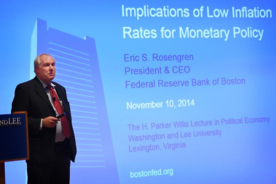 Boston Fed President Eric Rosengren spoke to a packed Stackhouse Theatre  on Monday, Nov. 10. Photo Courtesy of Kevin Remington