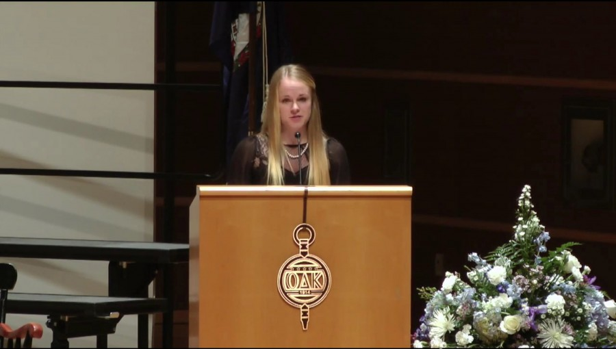 Alpha Circle President Jillian Katterhagen spoke at the initiation.