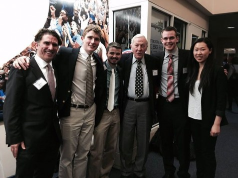Mahon, Corcoran, Perkins, Peterson and Lam pose with Roger Mudd '50 on the first day of the 2014 Ethics Bowl competition.