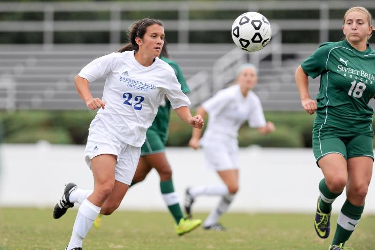 Rebecca Morris, '18, scored a hat trick on Randolph on Sept. 18. Photo courtesy of W&L Sports Info.