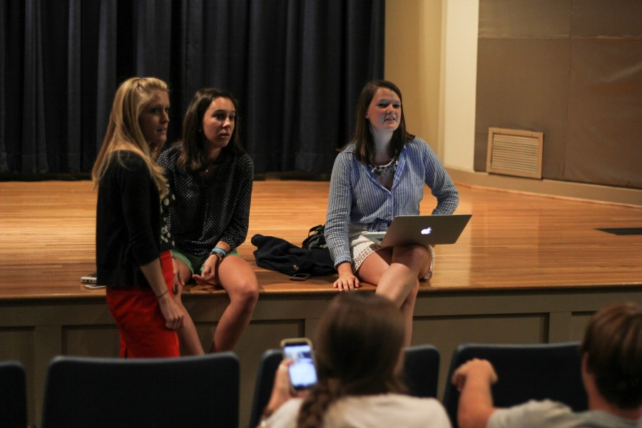 Dean of Sophomores Megan Hobbs, from left, with Sophomore Class Representatives Caroline Bones and Mary Page Welch at the class meeting on Tuesday.