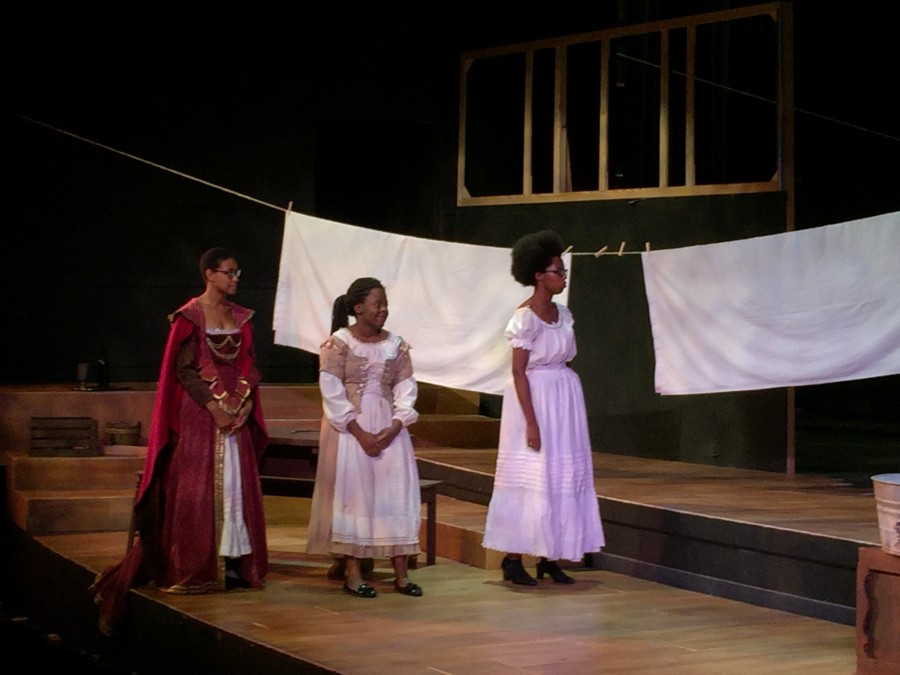 Cast members performing during dress rehearsal the week prior to opening night. Photo by Savannah Kimble, 18.