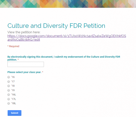 Students petition for culture and diversity FDR