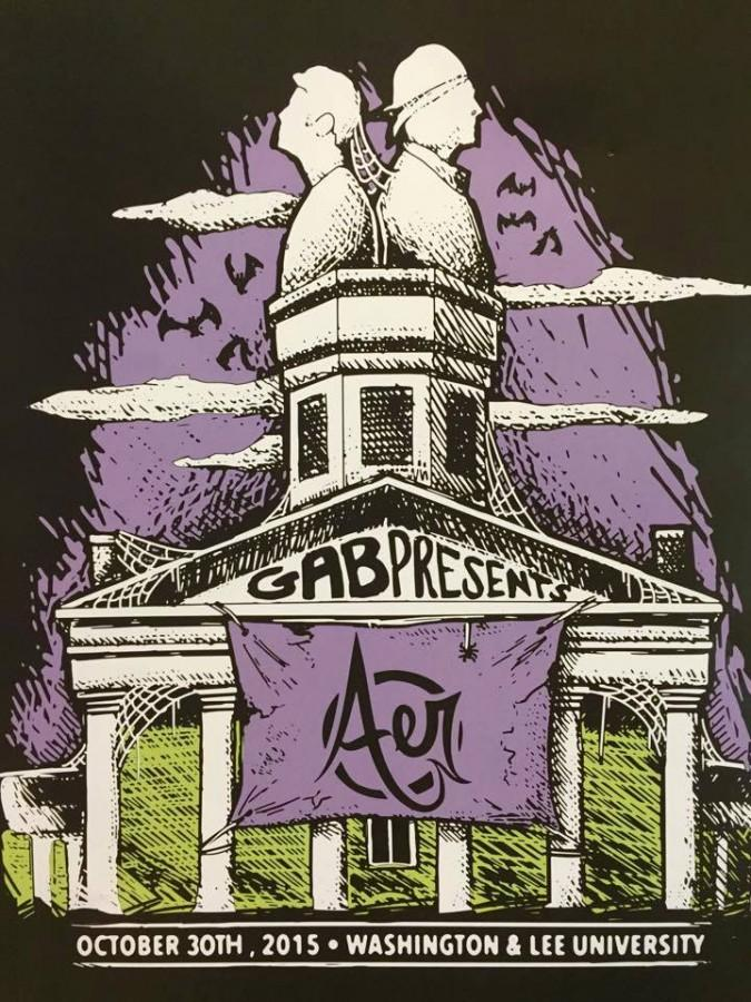 G.A.B.'s poster and t-shirt design for the Aer concert. Photo by Caroline Saltzman, '18.