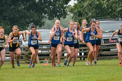 The Women's Cross Country team has placed first in three of their five meets this season. Photo courtesy of W&L Sports Info.