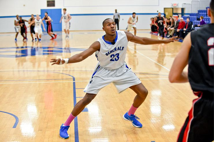 Jok Asiyo, '16, has been a crucial player for the Generals this season. He had 8 points, 4 rebounds and 1 block in the win against Ferrum. Photo courtesy of W&L Sports Info.