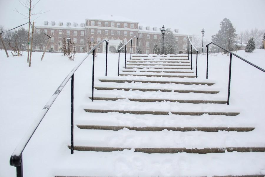 Snowy stairs in the newly renovated quad