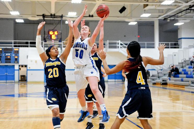 A year after her season eneded early because of injuries, Emma Redding, '18, is second on the team in rebounding, grabbing just under six boards a game. Photo courtesy of W&L Sports Info.