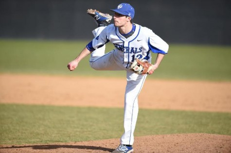 Kyle Tipping, '16, threw three scoreless innings in game three of the series to finish off the Seahawks. Photo courtesy of W&L Sports Info.