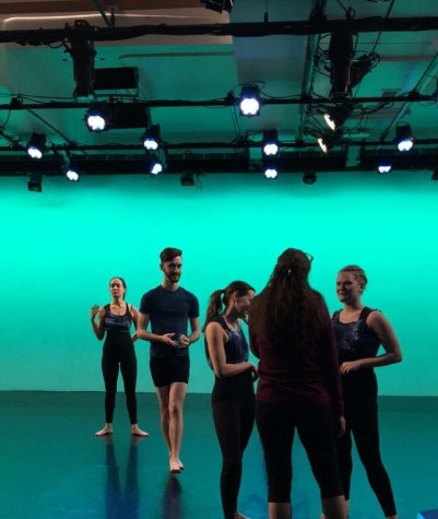 Dance Company members Laura Stagno, '18, Elliot Emadian, '17, Inga Wells, '16 and Emily Danzig, '16 rehearse on the Brooklyn's Center for Performance Research stage. Photo by Faith Isbell, '19.