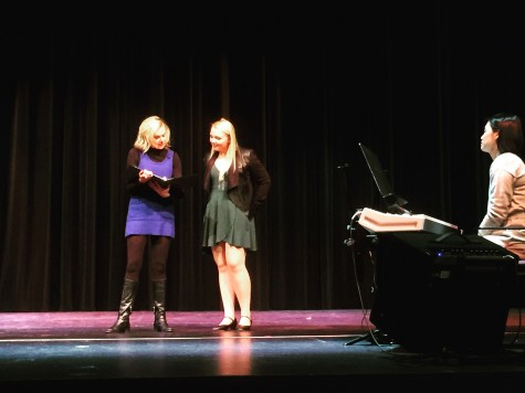 Laura Bell Bundy gives performance advice to Grace Vianney, '16, who plays Greek Chorus member, Margot. Photo courtesy of Laney Fay, '17.