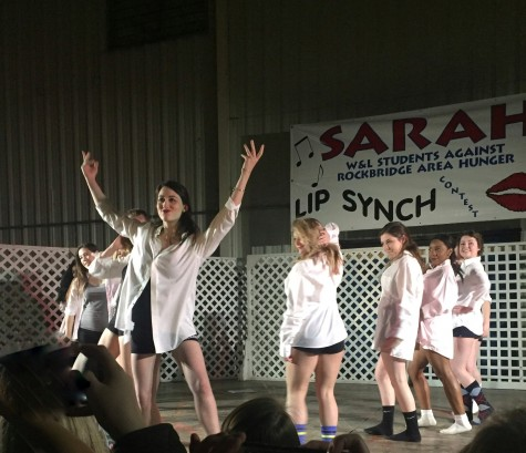 Pi Beta Phi's lip sync team hits the stage to perform its dance. Photo by Alexandra Cline, '19.