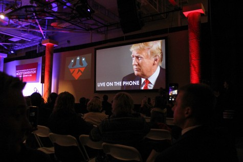 Trump calls in to thank the convention for their nomination and to answer questions posed by the Steering Committee. Photo by Ellen Kanzinger, '18.