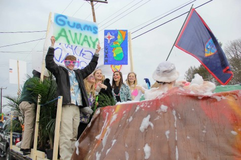 First place winner Guam shows off with a hot tub on the float. Photo by