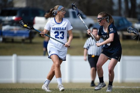 Melissa Coggins, '16 accounted for six points (two goals and four assists) in the win against Haverford. Photo courtesy of W&L Sports Info.
