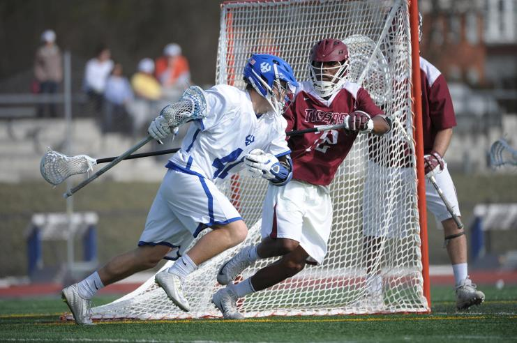 In his rookie season, A.J. Witherell, '19, leads the team in both goals and points while being second in shooting percentage. Photo courtesy of W&L Sports Info.