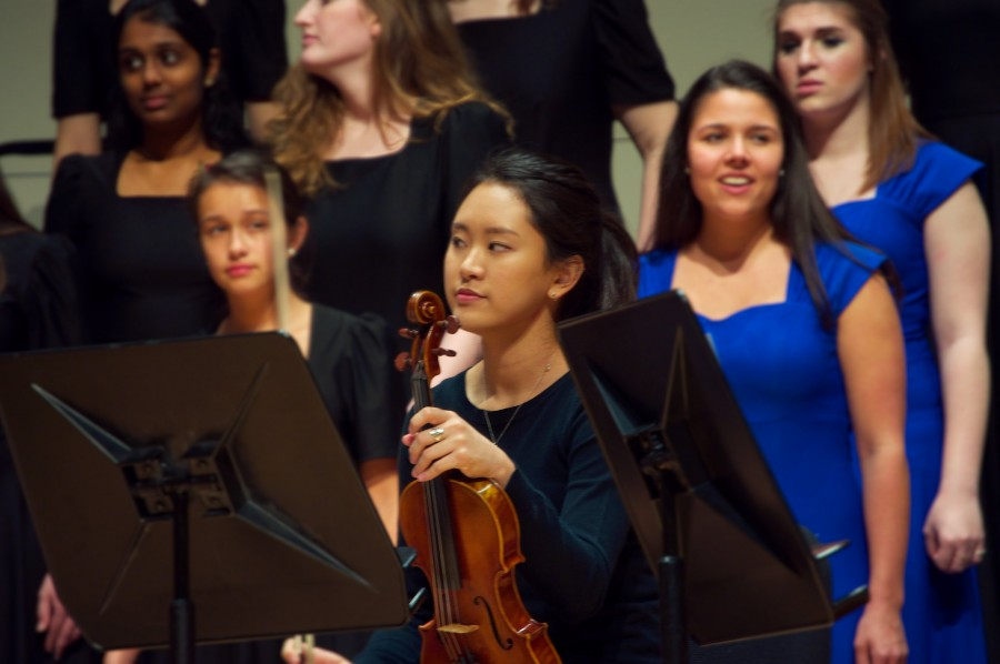 Aran Go, '16, performing in choral concert. Photo by Steven Yeung, '17.