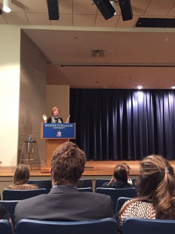 Vivian Schiller addresses students and faculty in Stackhouse. Photo by Nuoya Zhou, '18.