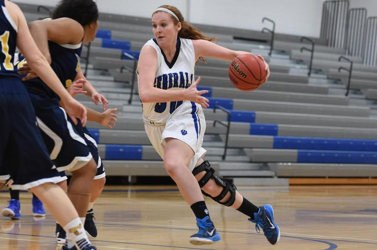Emma Redding, '18, averaged nearly 10 points and five rebounds over the team's last eight games. Photo courtesy of W&L Sports Info.