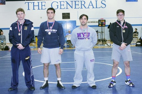 Tassoni has had a record-setting career ar W&L. He has held several records including single-season takedowns, wins and career takedowns. Photo courtesy of W&L Sports Info.