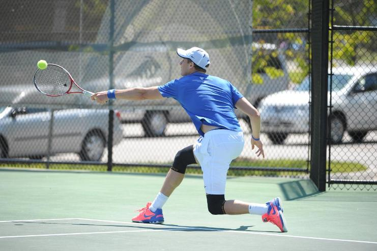 With only two losses through fourteen singles matches, Michael Holt, '16, is playing for his third All-American honor. Photo courtesy of W&L Sports Info.