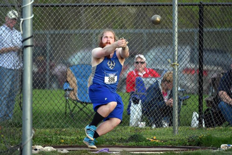 Patrick+Robertson%2C+%E2%80%9817%2C+won+last+year%E2%80%99s+hammer+throw+competition+in+the+ODAC+championship+with+a+toss+of+over+47+meters.+Photo+courtesy+of+W%26L+Sports+Info.