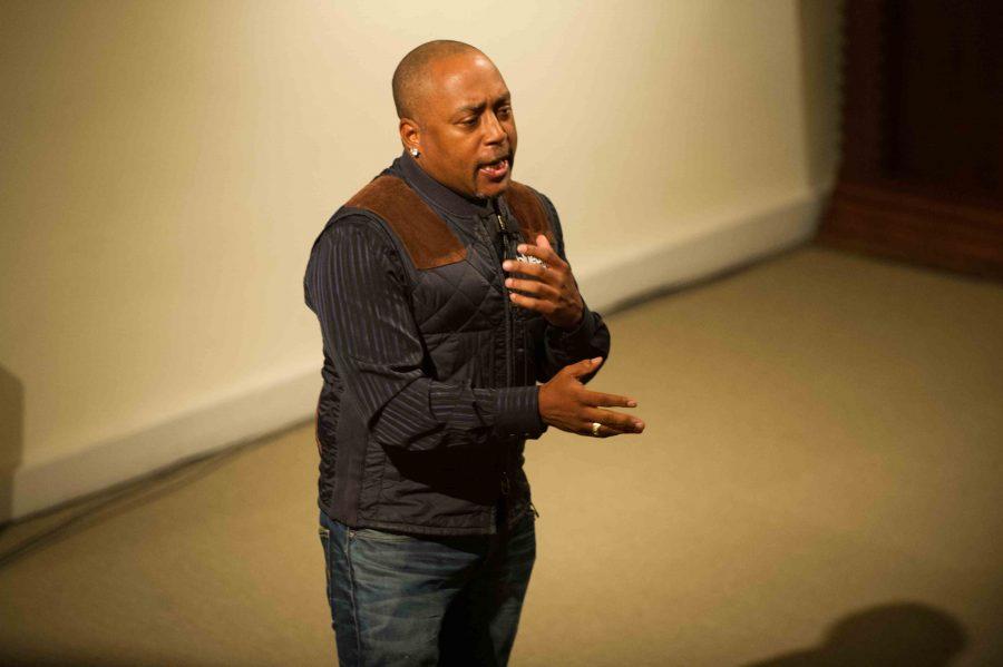 Daymond John speaks at Lee Chapel on Thursday evening.  Photo by Ellen Kanzinger '18.