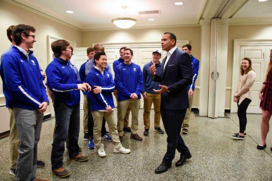 Alex+Rodriguez+speaks+to+student+athletes+in+Evans.+Photo+by+Ellen+Kanzinger%2C+%E2%80%9818.
