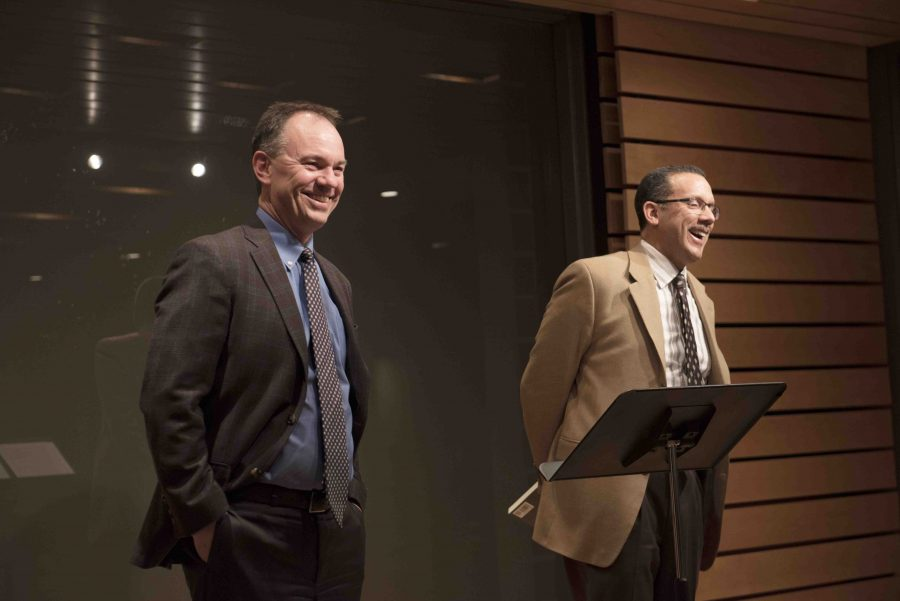Marc Conner and Lucas Morel speak at Chavis lecture. Photo by Ellen Kanzinger, '18.