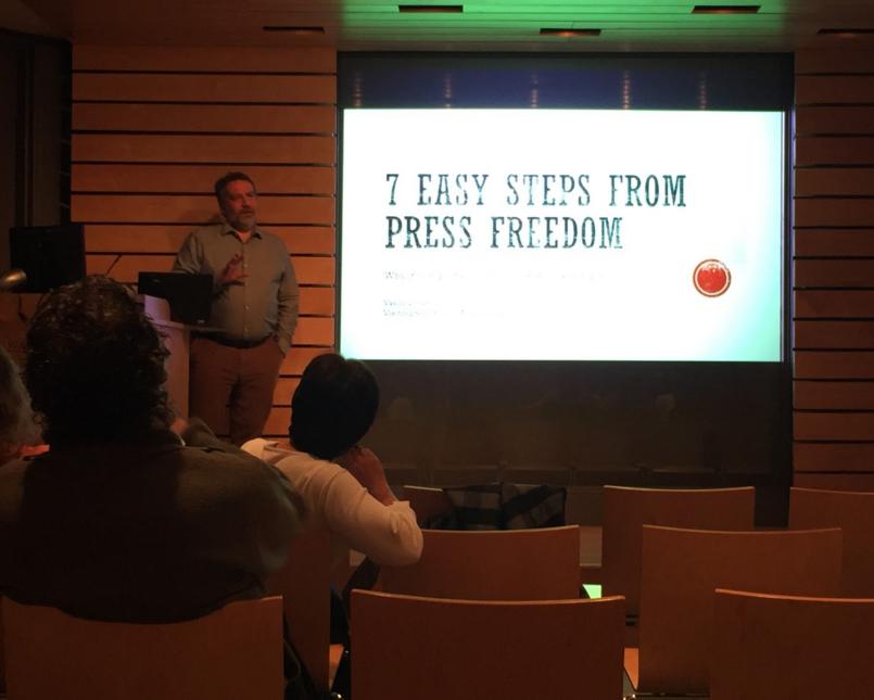 Vasily Gatov speaks at Northen Auditorium. Photo by Nuoya Zhou, 18.
