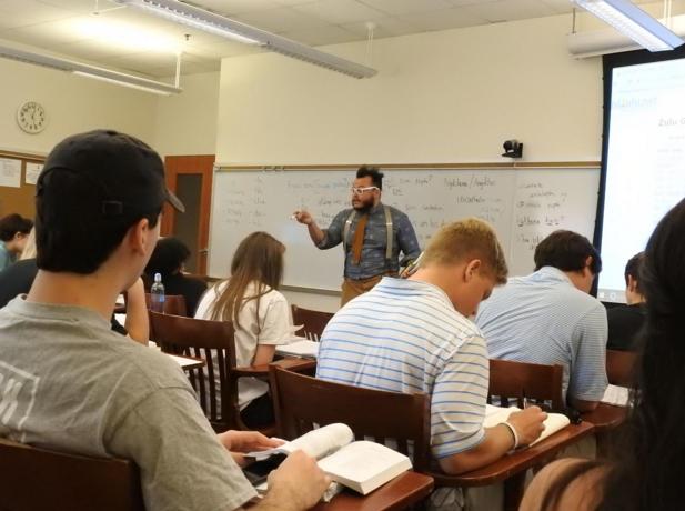 "Professor T.J. Tallie says ""Sala Kahle"" (""goodbye"") with his last class"