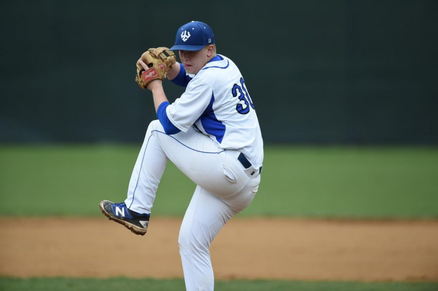 Captain David van Geluwe, '18, pitches last season. Photo courtesy of W&L Sports Info