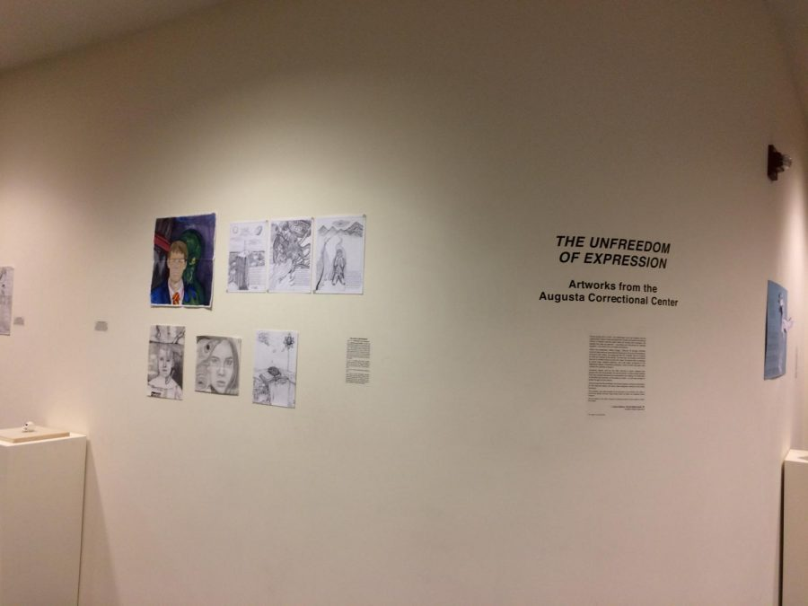 """The """"Unfreedom of Expression"""" exhibit is on display in Staniar Gallery in the Lykes Artrium of the Lenfest Center through September 30. Photo by Maria Kisker, '21."""