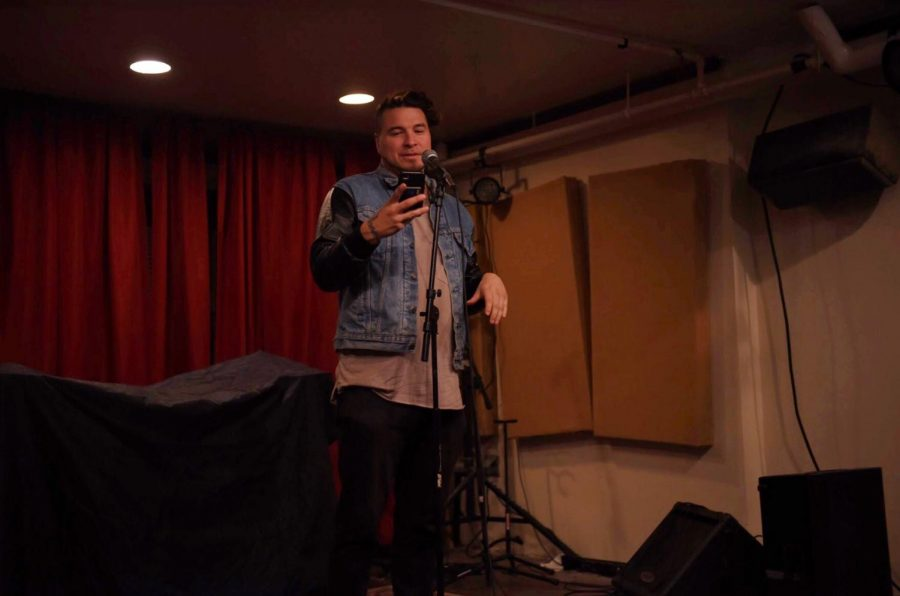 Spoken word poet and activist Michael Reyes performed spoken word poetry on Oct. 3. Photo by Maya Lora, '20.