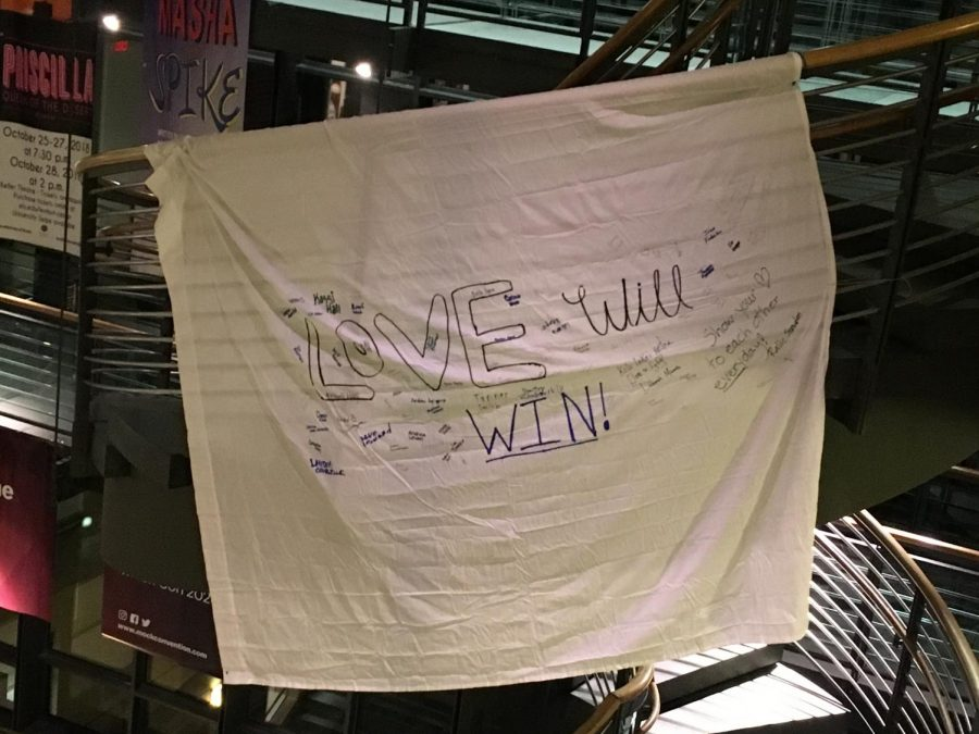 A+banner+hangs+in+Elrod+Commons+that+says%2C+%22Love+Will+Win%21%22+Photo+by+Hannah+Denham%2C+%2720.