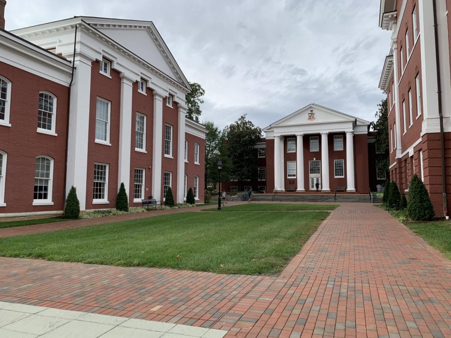 The Washington and Lee University campus, featuring Huntley Hall and Newcomb Hall. Photo by Coleman Martinson, 21.