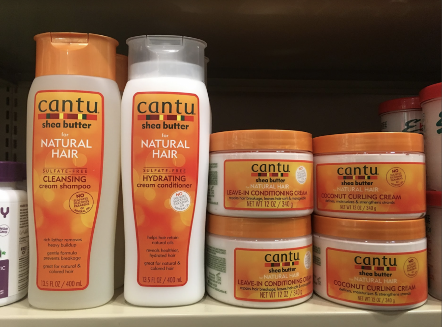 The products offered now include Cantu shampoo, conditioner, leave-in conditioner and many other options. Photo by Hannah Denham, '20.
