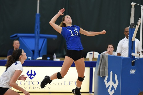 Ashleigh Meade, '20, serves in a recent game. Photo courtesy of W&L Sports Info.
