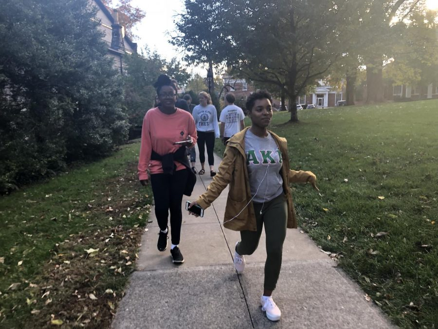 Sasha Edwards, '20, (left) and MaKayla Lorick, '19, (right) are both members of the Tau Zeta chapter of AKA and lead the way for their Walk Out event on Oct. 20. Photo by Laura Calhoun, '20.