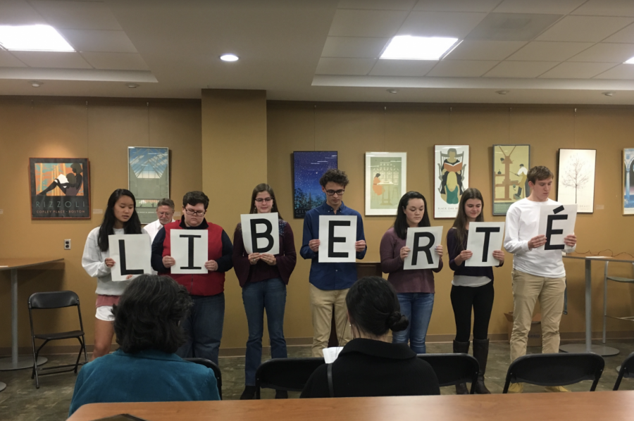 "Rockbridge County High School students perform French poem ""Liberte."" Photo by Grace Mamon."