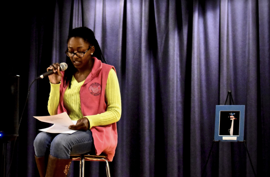 Sasha Edwards, '20, performed an original poem,