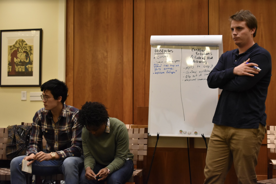 From left to right: James Ricks, '21, Joëlle Simeu, '20, and Heeth Varnedoe, '19, facilitated the discussion on student activism. Photo by Hannah Denham, '20.