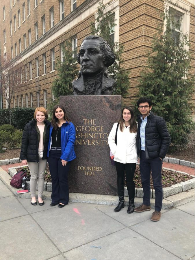 Laura Calhoun, '20. Frances Marie Pugh, '20, Taylor Reese, '19, and Edwin Castellanos, '20 attended the Alliance for the Low-Income and First Generation Narrative conference in March 2018 as representatives of Washington and Lee's FLIP chapter. Photo courtesy of FLIP.