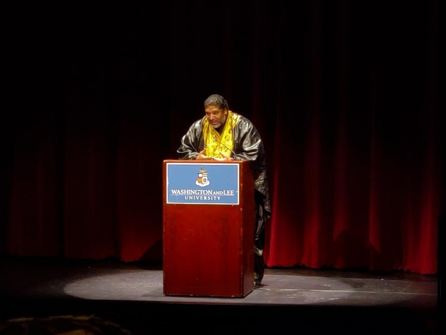 The Rev. William J. Barber II delivered the keynote address that marked the culmination of the university's events to honor Dr. Martin Luther King Jr. Photo by Arthur Rodrigues, '22.