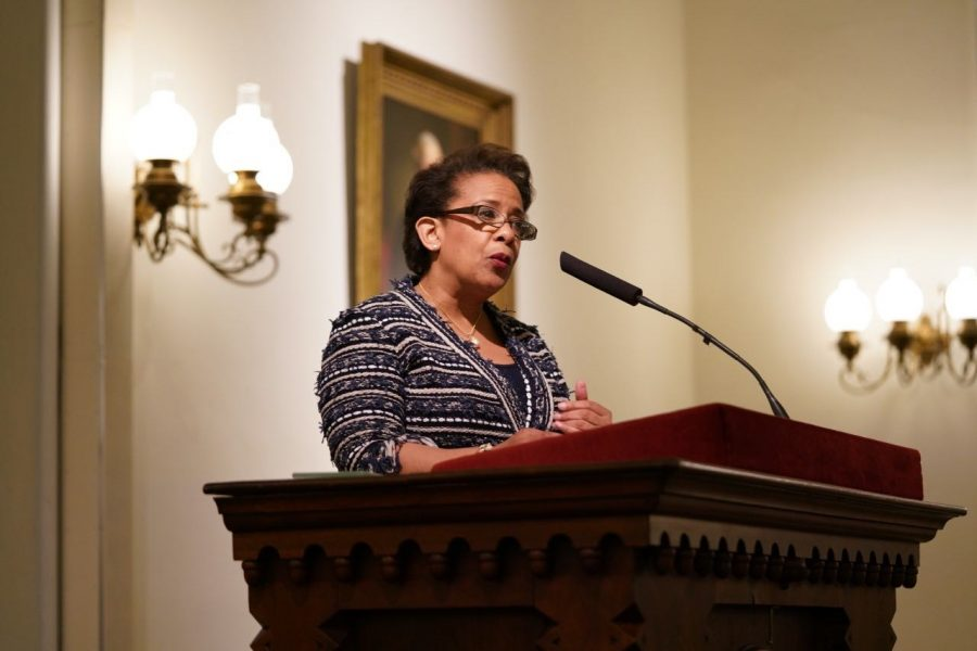 Loretta Lynch spoke about the importance of discussing history and tradition in Lee Chapel on March 7. Photo by Nolan Zunk, '22.