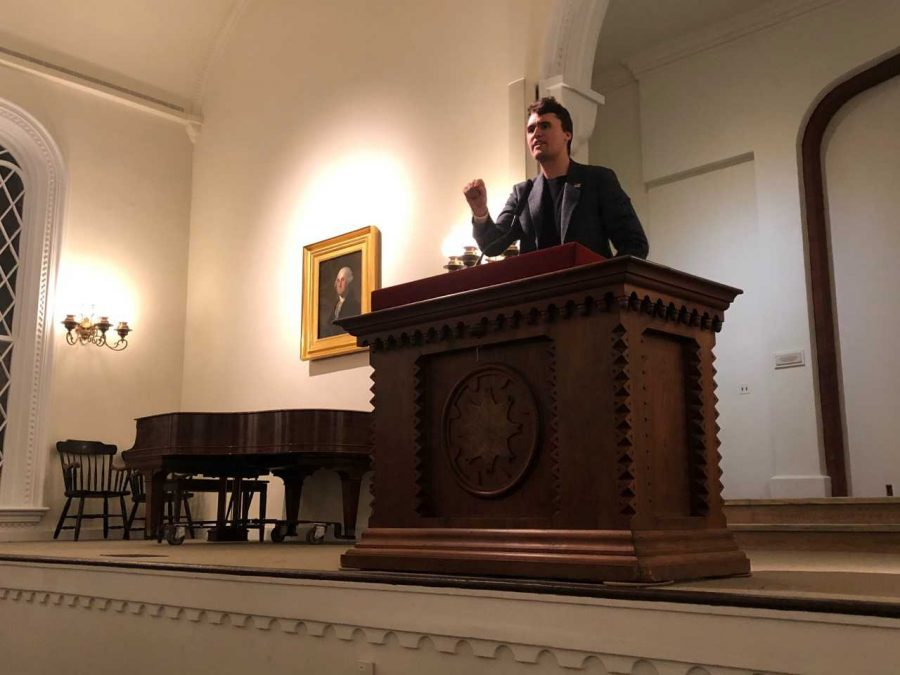 Charlie Kirk, founder of conservative political organization Turning Point USA, speaks in Lee Chapel. Photo by Kathryn Young.