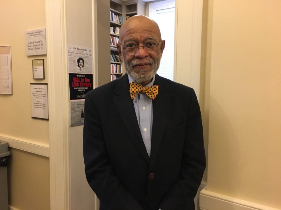 Professor Ted DeLaney outside his office in Newcomb Hall. Photo by Hannah Denham, '20.