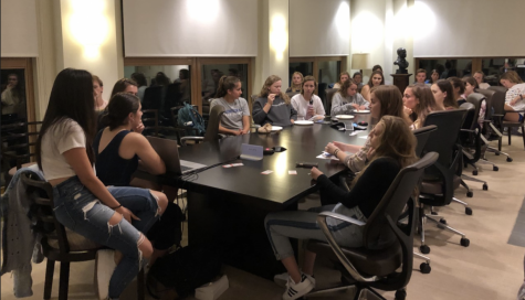 Seren McClain, '22, and Aoife Chow, '22, led the first meeting. Photo by Grace Mamon, '22.