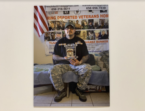 A photograph of a deported veteran, taken by Xavier Tavera and showcased in Staniar Gallery.