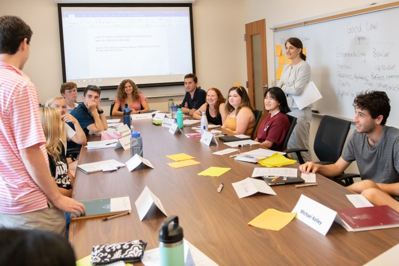 Students participate in the Introduction to Law, Justice and Society class. Photo courtesy of Kevin Remington.